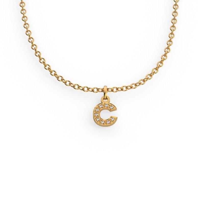 Collar de oro con tu inicial de diamantes